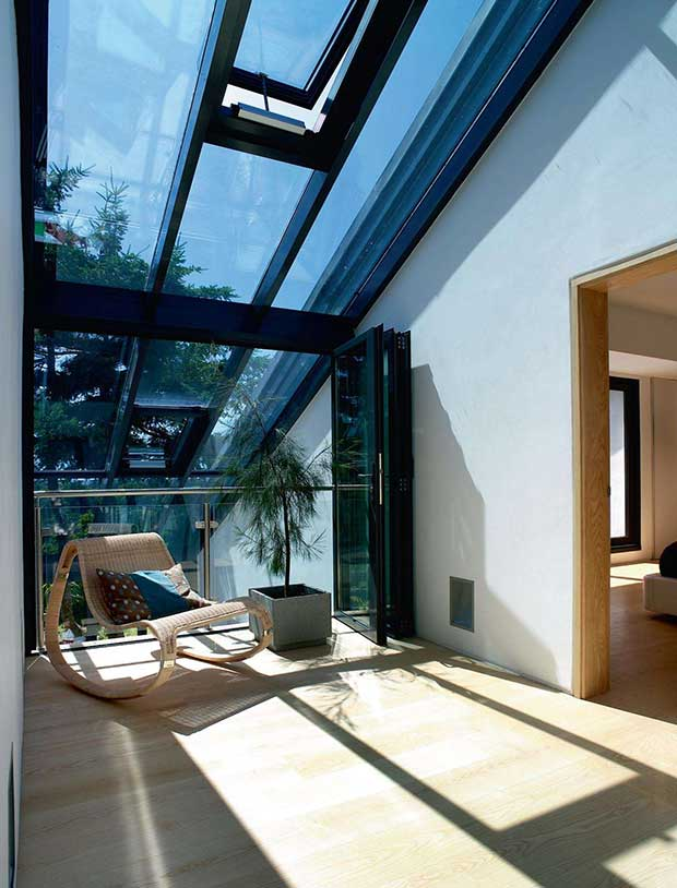 Glass roof in a modern SIPs home