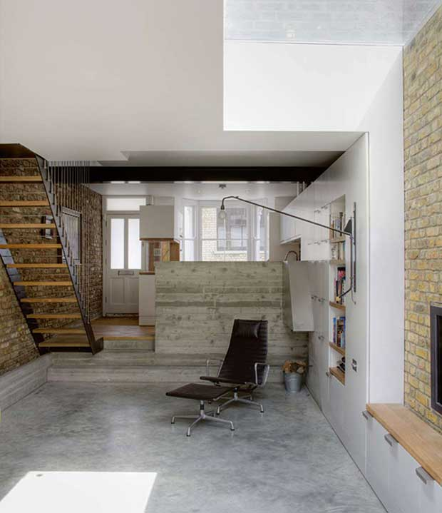 Polished concrete flooring in a living area in a remodelled Victorian terrace