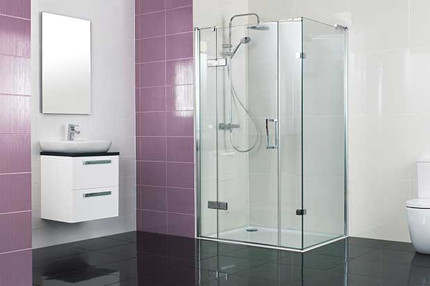 Decem Hinged Shower Door with Inline and Side Panels