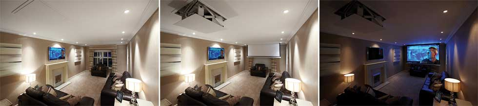 Home cinema hidden ceiling projector