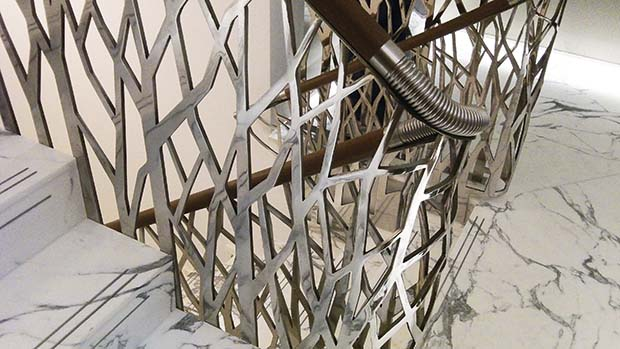 Sculptural metal branch balustrade