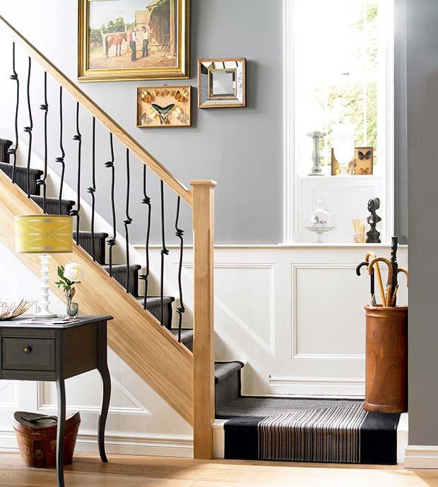 Elementals spiral metal spindles and oak handrail