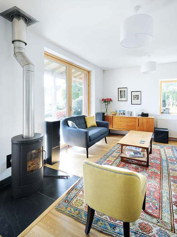 The living area with woodburner