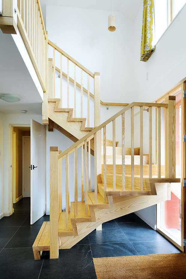The wooden staircase