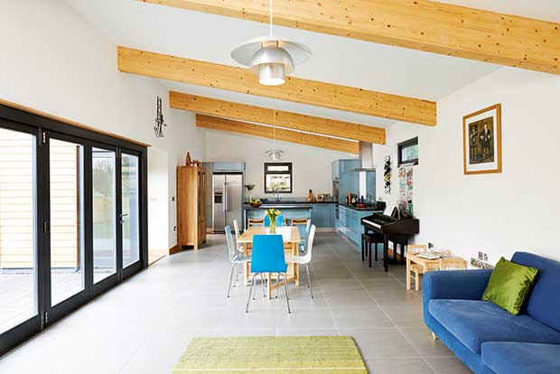 Living space in a family low profile bungalow