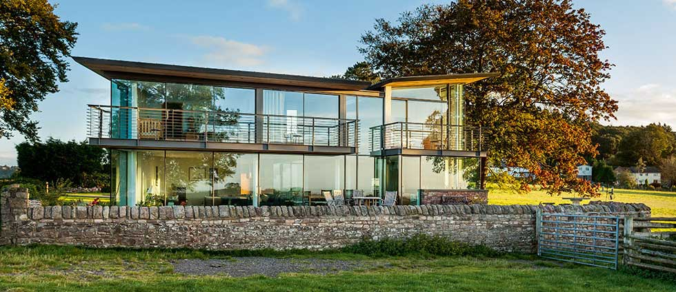 SOuth-facing glazing on a contemporary self build