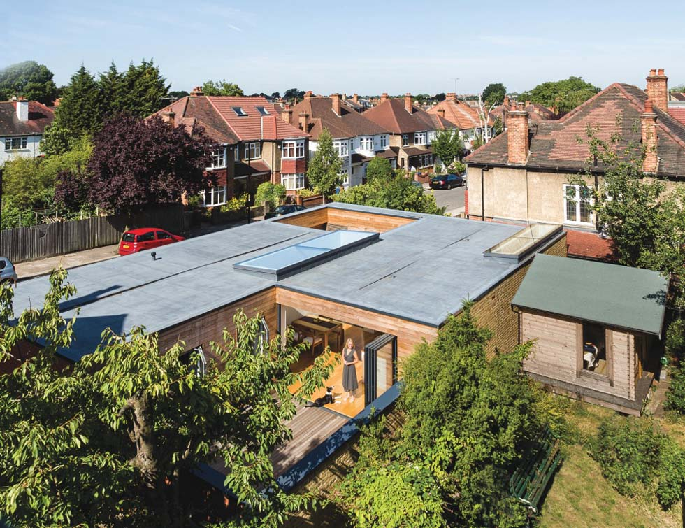 An aerial view of the Blowers' self-build house
