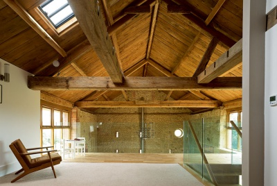 Mezzanine level in a converted stone barn