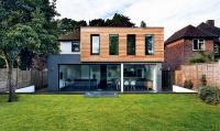 The exterior of the cedar clad house