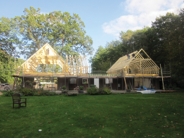 Burgess home in Berkshire during the build before weathertight stage