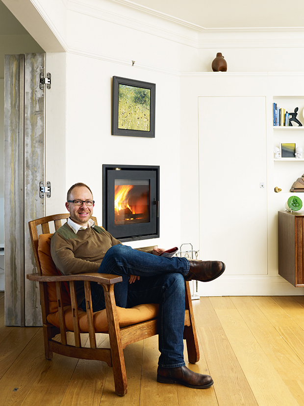 Richard Zinzan in the lounge of his renovated home in Brighton
