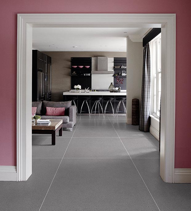 Mandarin Stone Breccia Grey matt porcelain tiles in puce room