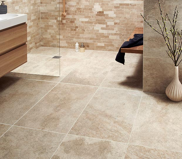 Large format beige tiles from Topps Tiles