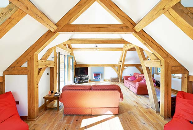 Attic snug and library room with vaulted ceiling