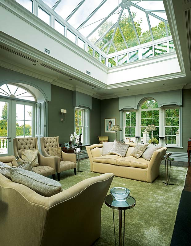 Living room in a large self build classical style self build in Cheshire