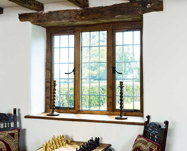 A Tudor-style leaded window