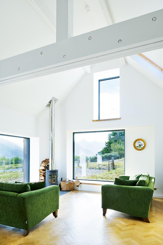 minimally framed triple glazed windows from NorDan in a Lochside self build