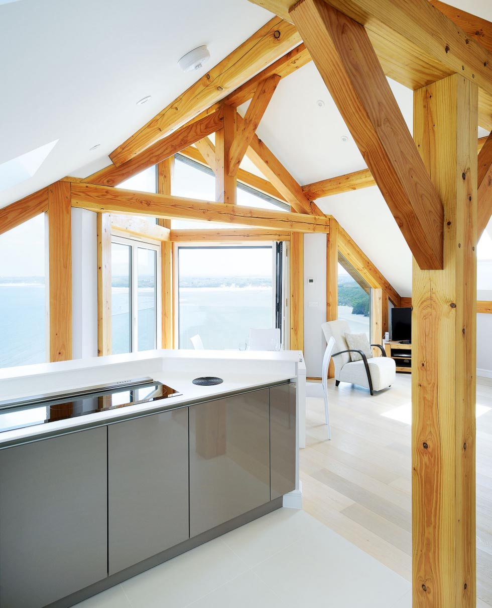 The kitchen/dining/living is positioned on the first floor to make the most of the views