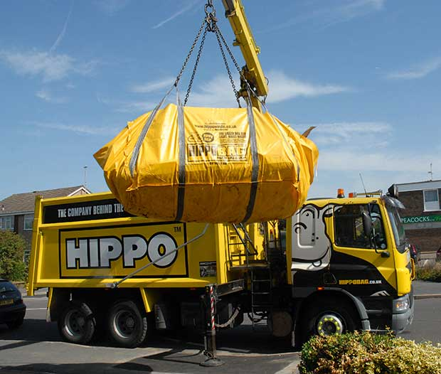 Hippo lorry removing a skip bag