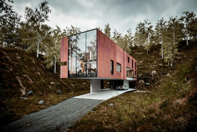 a modernist style home with large glazed sections and wood clad exterior in a Quarry in Pontypridd
