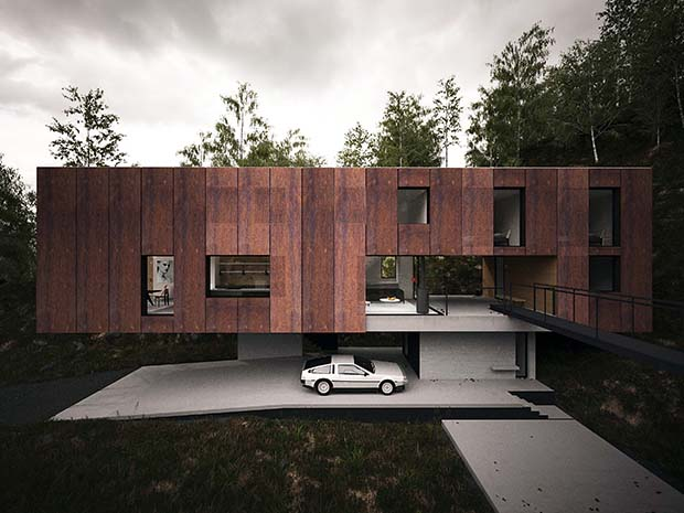 side view of a home in a quarry with a vintage car underneath the cantilevered structure