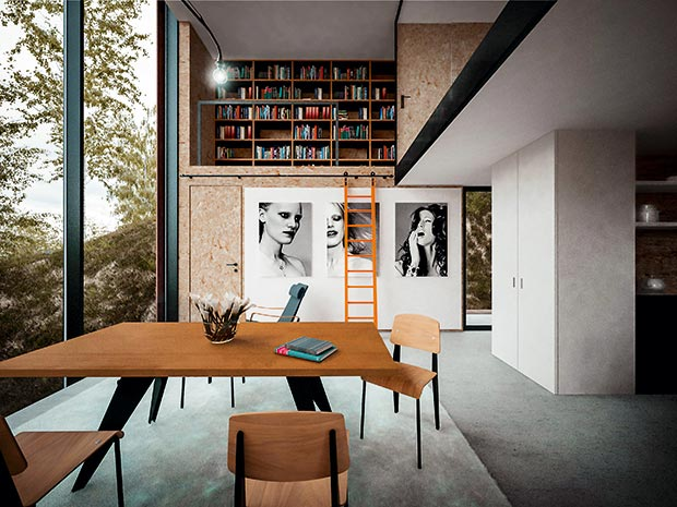 OSB interior walls and a sliding ladder lead to a library landing in a modern home with large glazed areas