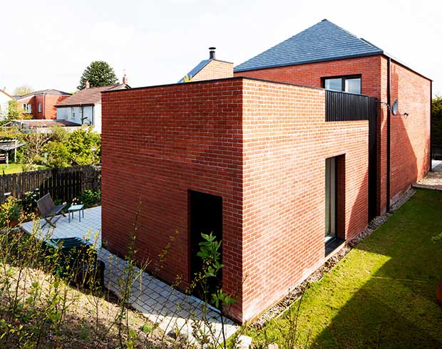 Rear view of the Crawford new build house in Belfast