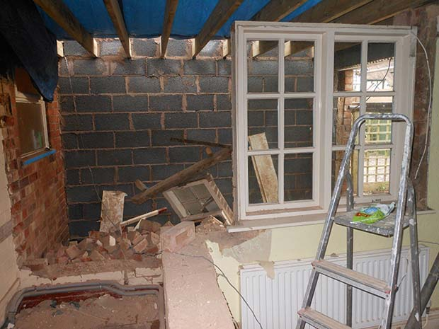 Break through from existing house, steels put in place, joins made good