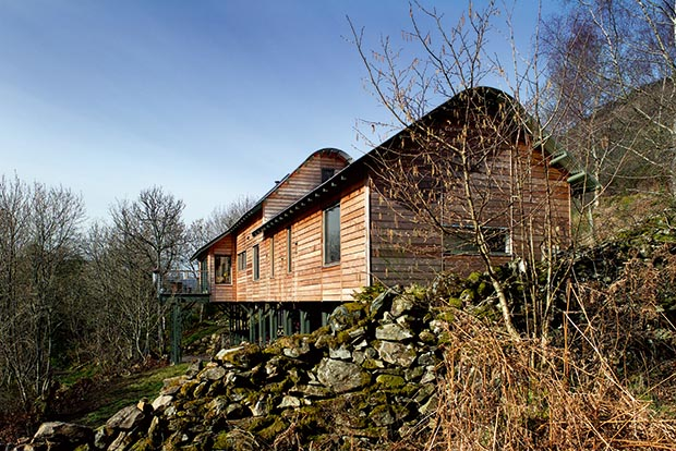 a home on a dramatic woodland sloping site in Perthshire with larch weatherboarding and a curved aluminium roof