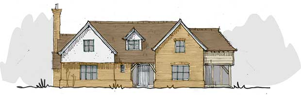 Drawings of a home in Buckinghamshireby PJT Design for Oakwrights