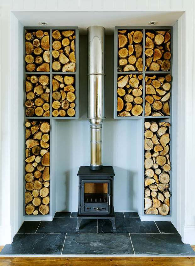 Woodburning stove with surrounding built-in storage
