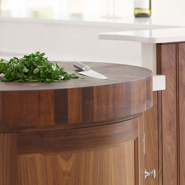 Walnut butchers' block by Rencraft worktops