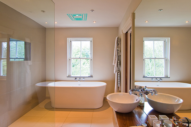 Bathroom Audio System In A Sleek Contemporary Bathroom