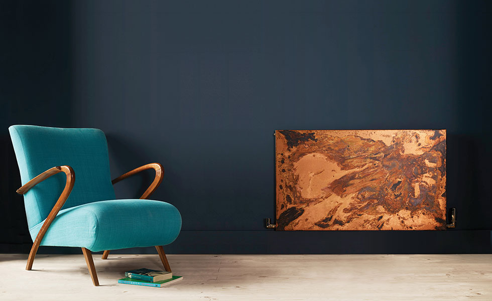 acid etched copper in modern lifestyle living room