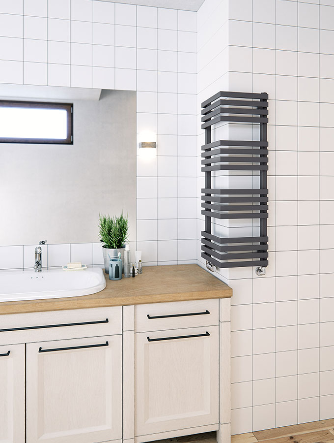 bathroom towel rail in grey on corner