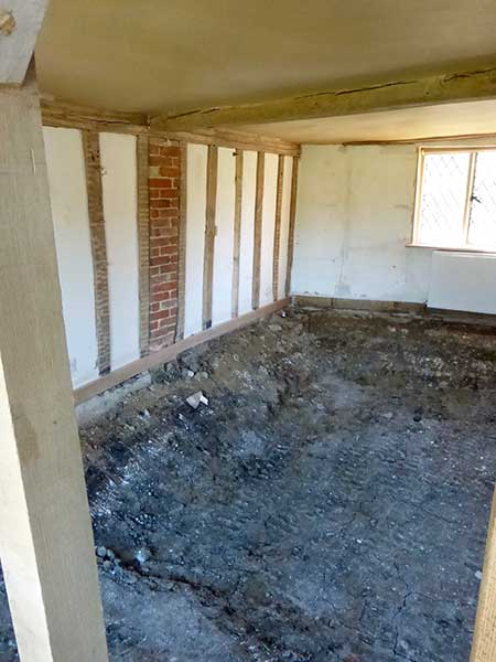 Excavated floor in old house