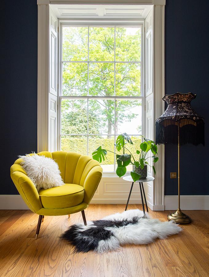 original windows in modern living room