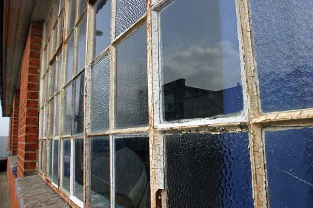 corroded metal windows