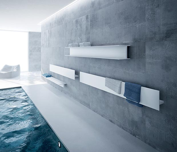 Iconic's Serie T Range bath shelf and double horizontal radiators