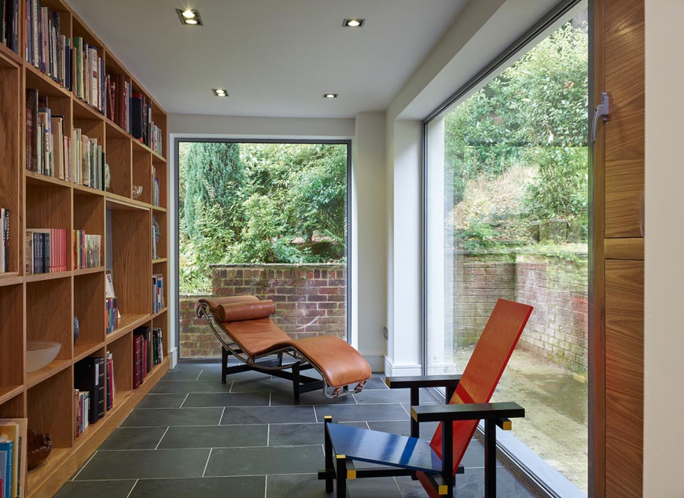 library to the rear of the property with large windows