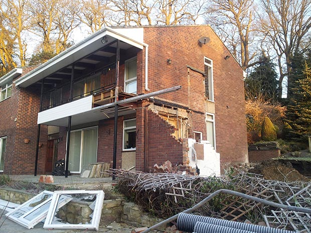 demolished side extension on Treetops
