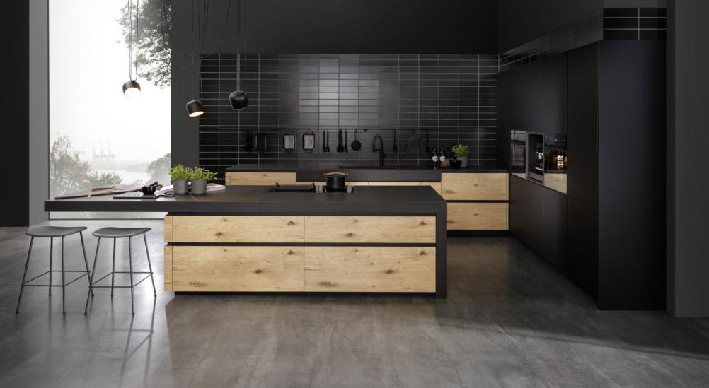 Modern black open plan kitchen