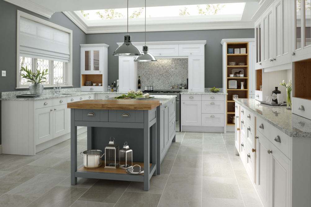Large country kitchen with island unit