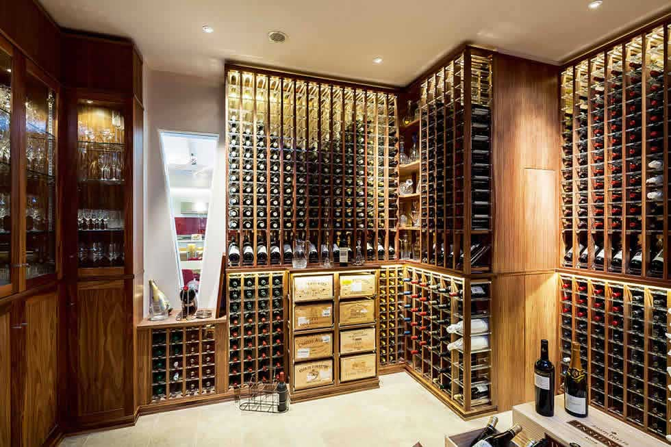 a wine room in a contemporary home from Sorrells
