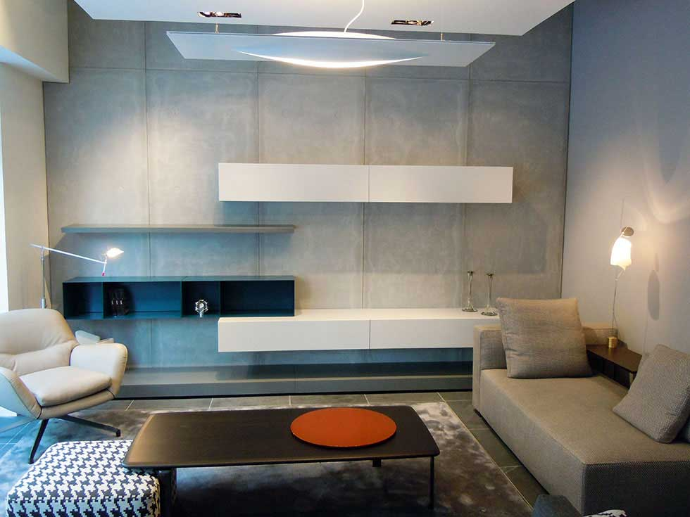Beautiful uses for functional materials homebuilding - Cement showcase designs living room ...
