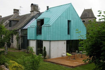 Copper clad home with concrete base by the Copper Development Association