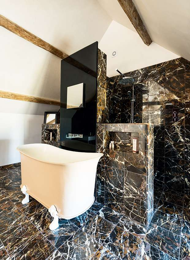 en suite bathroom glam with marble effect tiling