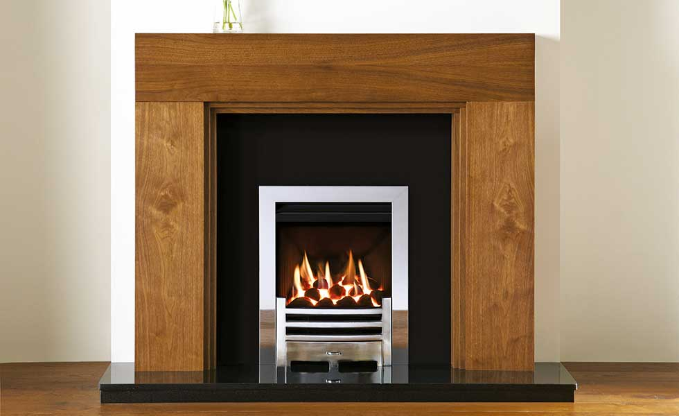 Helsinki fire surround in Walnut veneer from Stovax