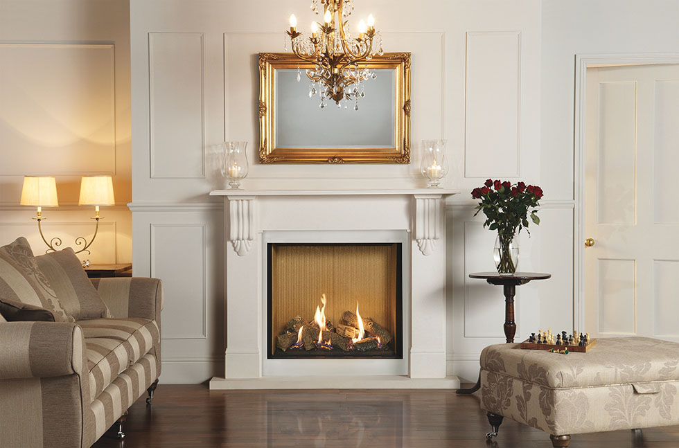 Riva 2 750HL with Fluted Vermiculite Lining In Victorian Corbel Limestone Mantel