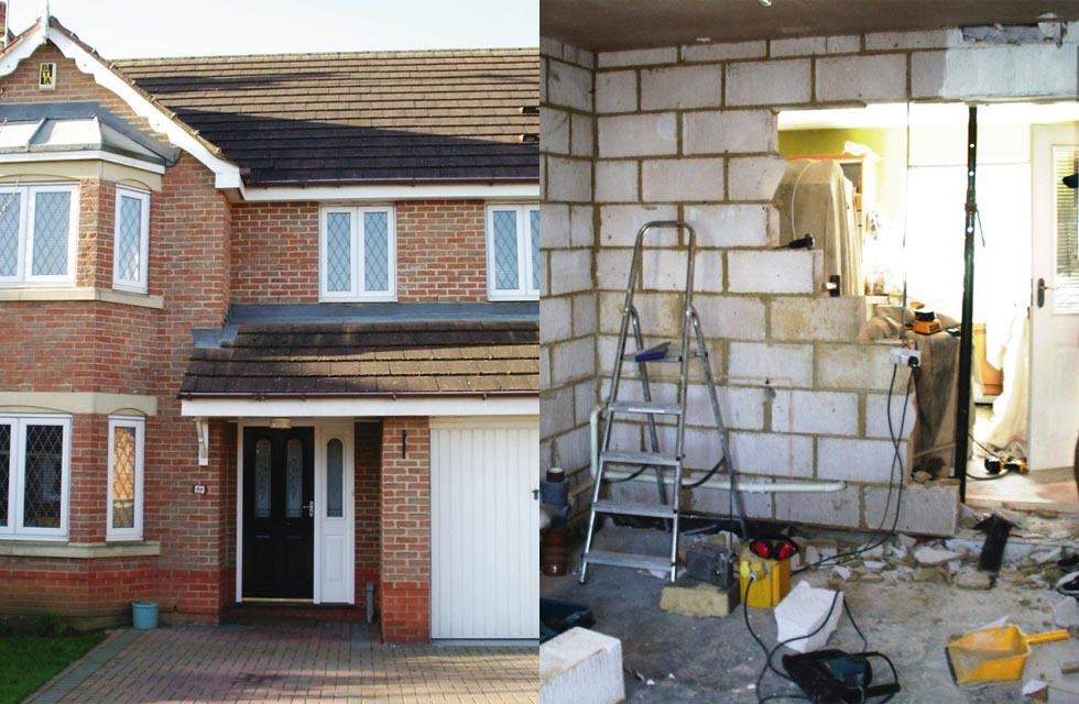 The existing home before and during the work: On the left we can see the